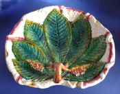 Large George Jones Majolica 'Chestnut Leaf on Napkin' Serving Dish c1870
